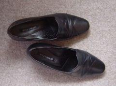 本革 靴 パンプス ビジネス シューズ ブラック 22.5cm