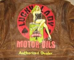 手描き LUCKY LADY MOTOR OIL 金髪美女 茶色 牛革