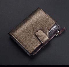 高品質レザー 財布 二つ折り 札・小銭・カード・定期 茶色