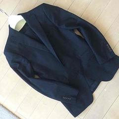 美品 パーソンズ シングルストライプ織柄2釦  細身スーツ 黒 M