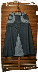*+cotton+linen+rayon パッチワーク風デニムスカート*L ブラック