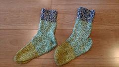 ★北海道発 毛糸の手編み靴下 ルームソックス 防寒 �A★