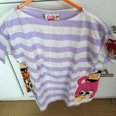 新タグjamストライプワッペン半袖Tシャツパープル110