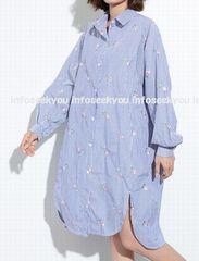 LL3L4L大きいサイズ/ストライプ&お花刺繍〜ロングシャツ/紺