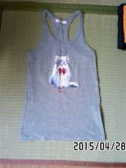 ロゴ&白猫プリントタンクトップ