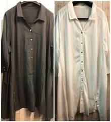 新品☆6L羽織ってもOK!デザインシャツチュニックを2枚☆s379