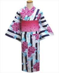 浴衣&ラメ入グラデーション半巾帯2点セット白濃紺ライン地牡丹小花
