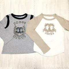 【used】裏起毛Tシャツ2枚セット/M/オフ白×ベージュ/グレー×黒
