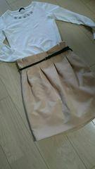 100円スタート リリーブラウン タイトスカート ベルト付き