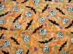 USAコットン☆オレンジ地ハロウィン柄50×110