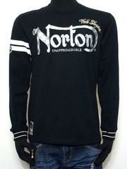 新品NortonノートンチェッカーフラッグロンT刺繍インパクトあり