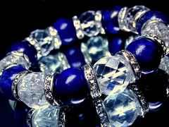ラピスラズリ瑠璃石§カット水晶§14ミリ§銀ロンデル