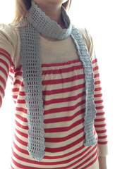 ♪手編み♪  細めのストール  水色