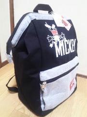 ROUND1限定ミッキーマウスがまぐちリュック☆スウェットver.ブラック