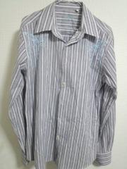 刺繍入りストライプシャツ 細身