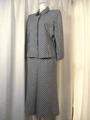 【アトリエドール】黒/白シルク混ウールロングスカートスーツ