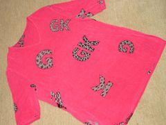 ロゴプリント*半袖トップス(濃ピンク)レディース