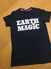 アースマジック・ラメロゴ半袖Tシャツ・黒160