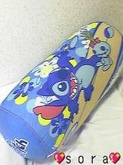 ディズニー【スティッチ&リロ】可愛い♪仲良し筒型クッションブルー
