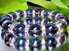 パワーストーン☆天然石!!ブルーオーラクリスタル12ミリ§銀ロンデル§数珠ブレスレット