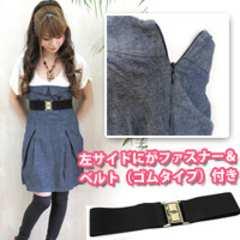 新品*タグ*雑誌掲載デニムベアワンピース&黒ベルトセット青