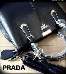 PRADA italy定番黒レザー型押し2way300mmショルダーベルト付き