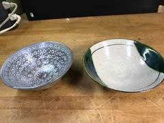 素晴らしい、夏茶碗を二種。三島と織部。どちらも在銘。