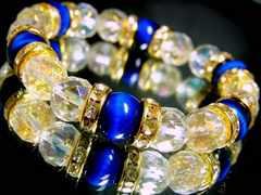 エメラルドブルータイガーアイ§64面カットレンボー水晶10ミリ金ロンデル数珠