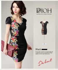 美品 DIOH フラワープリント ビジューミニタイトドレス