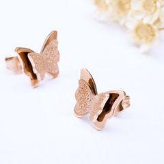18Kピンクゴールド鍍金ダブル蝶々ピアス