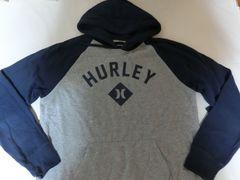 USA購入【hurley】ロゴプリント プルオーバーパーカーUS XL灰x紺