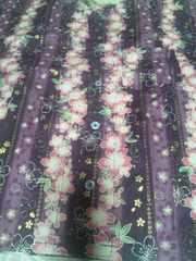 ☆新品濃紫×縦縞桜柄ダボシャツ130