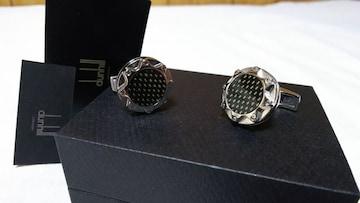 正規 アルフレッドダンヒル ADロゴ オーバルスターカフス サンモチーフカフリンクス カーボン調ボタン