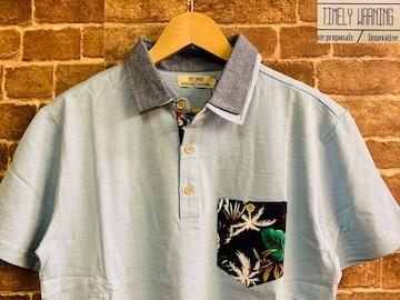 表記M/新品!リーフ柄 Timely Warning ポロシャツ 水色 サーフ 西海岸スタイル