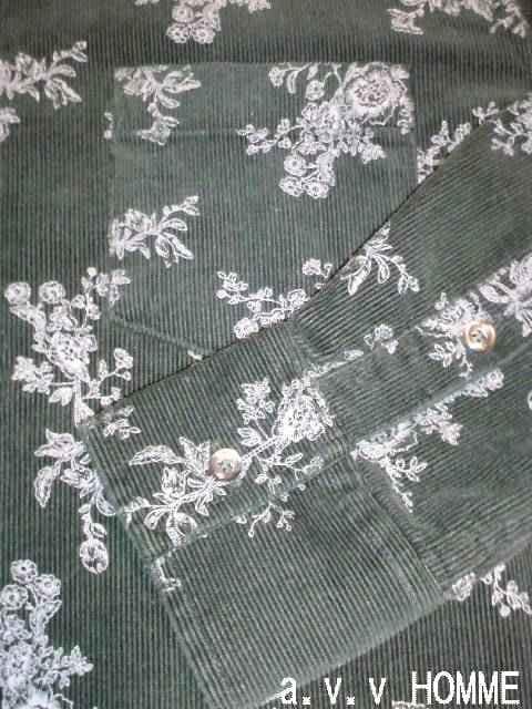 □a.v.v HOMME メンズ花柄 コーデュロイシャツ/46/メンズ☆新品 < ブランドの