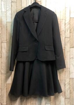 新品☆3号プチ♪黒無地のフレアスカートスーツ☆s844