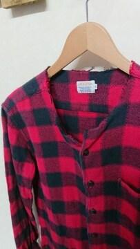 Check&Stripeチェック&ストライプ ブロックチェックノーカラーネルシャツ バッファロー M