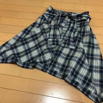 ウエストに巻くシャツ風ミニスカート ◆ チェック柄 L