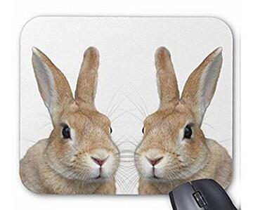 ちょい横向きのウサギの顔のマウスパッド (2匹)