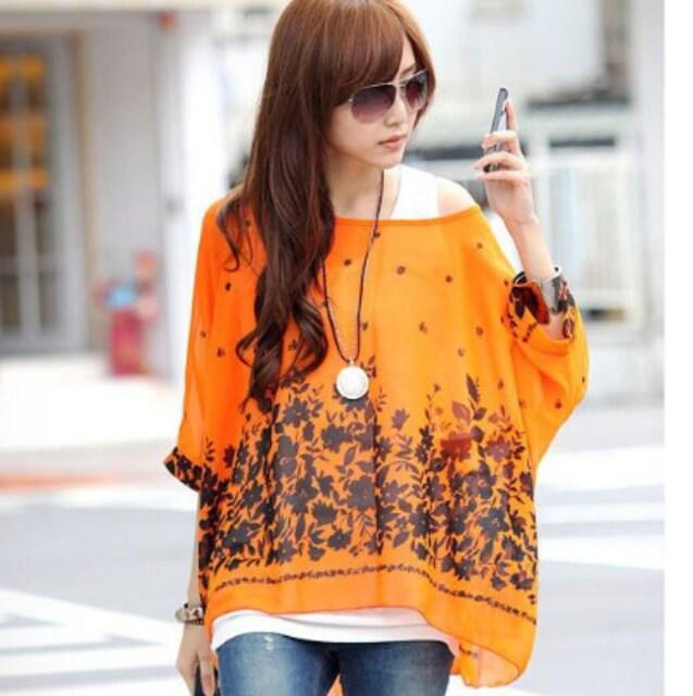 新品[7971]4L〜6L(大きいサイズ)オレンジX黒花柄シフォンドルマンシャツ  < 女性ファッションの