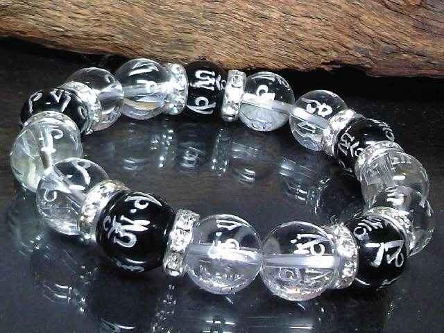 銀彫六字真言梵字オニキス水晶12ミリ数珠 < 男性アクセサリー/時計の