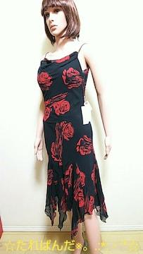 新品タグ付☆大薔薇が綺麗しふおんワンピドレスW105☆3点で即落
