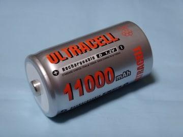 高容量 単一乾電池 充電池 Ni-MH 11000mAh Ultra cell D