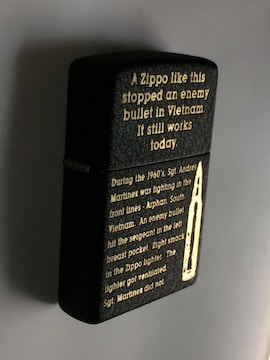 漆黒の複製ブラッククラックルZippo2015年製ミリタリーレプリカ良品ジッポーUSED