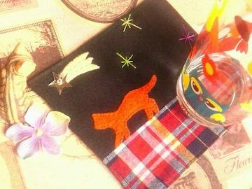 ハンドメイド*・゚流れ星☆彡夜のお散歩ねこコースター/家Cafe-*゚猫