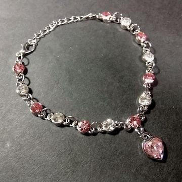 送料無料 ピンク色 ハート ラインストーン ブレスレット シルバー色