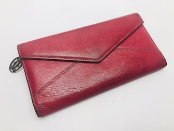 D157 美品★ カルティエ Cartier 長財布 赤 レッド スエード