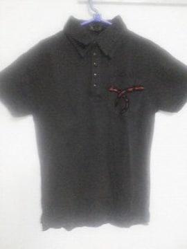 Aー133★新品★半袖刺繍デザインポロシャツ ブラック L