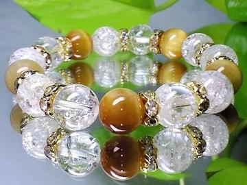ゴールデンタイガーアイ&クラック爆裂水晶10ミリ金色ロンデル