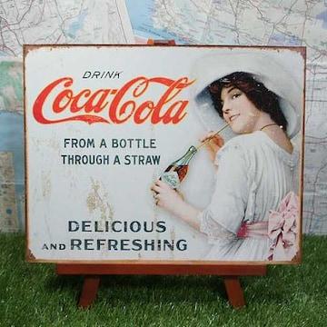 新品【ブリキ看板】Coca-Cola/コカ・コーラ Through a Straw